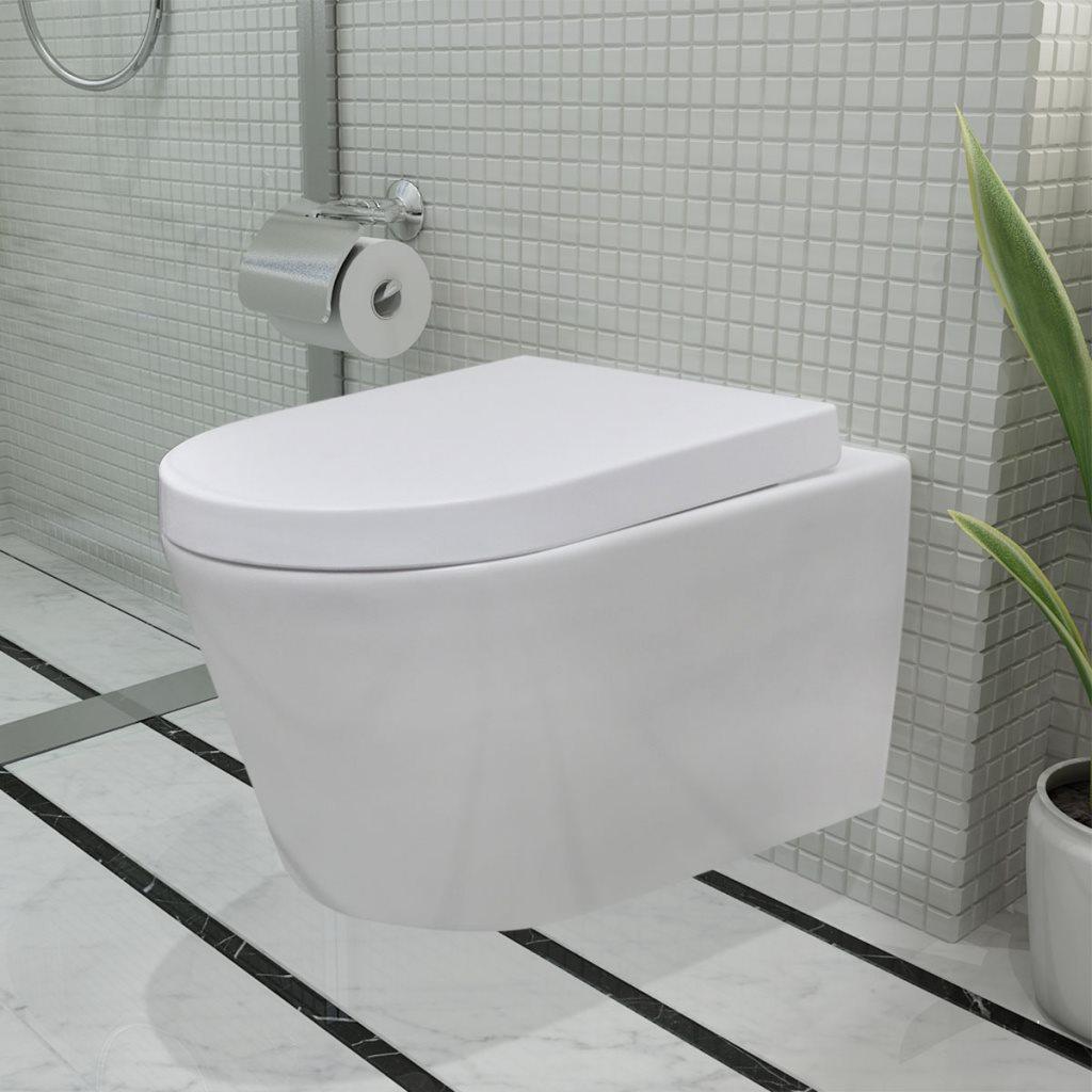 Vägghängd toalett med mjukstängt lock vit keramik på Tradera.com -