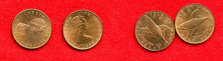 Isle of Man Half penny 1977 två varianter