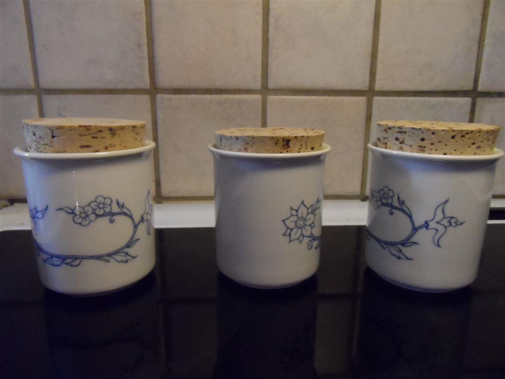 3 arabia kryddburkar, serien blå kök, sininen keittiö, från 1983 på