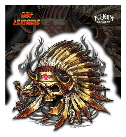 7884c0faf4f99 Hot Leathers Native Skull Biker Sticker dekal (338888187) ᐈ Butiq ...