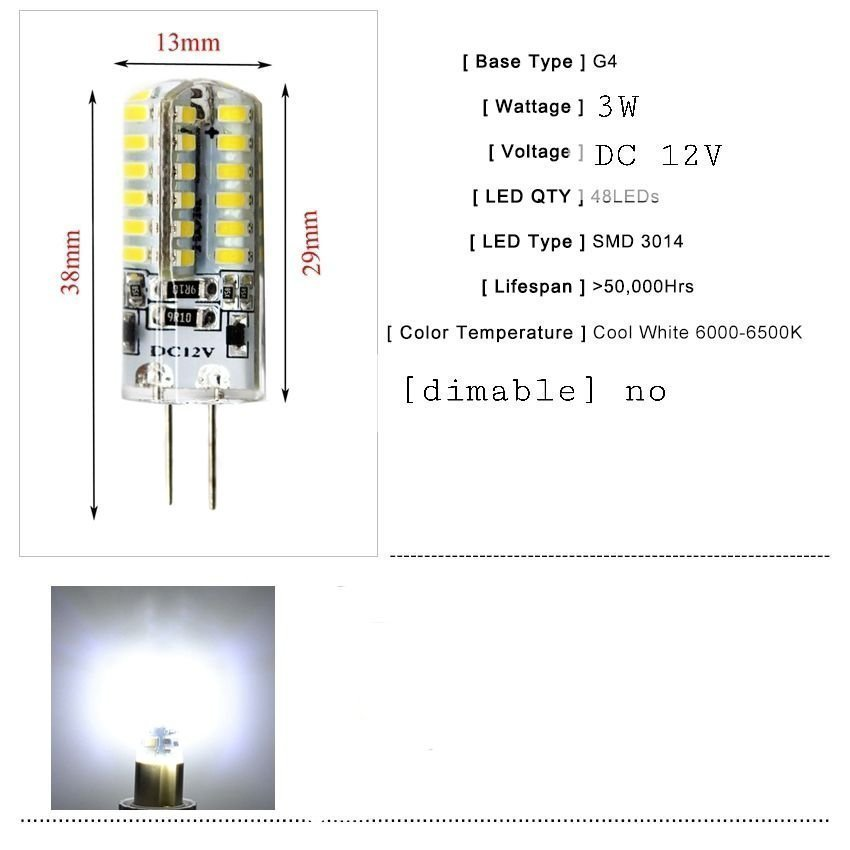 2 x G4 48 led lampa 12v 3w (391267104) ᐈ Köp på Tradera
