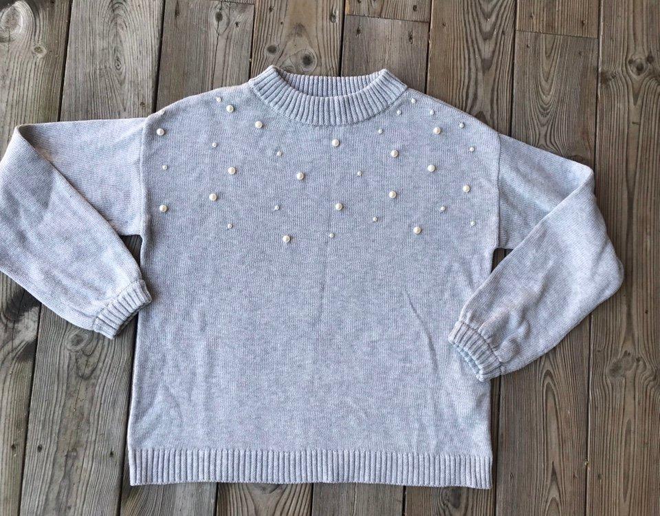 GERRY WEBER grå stickad tröja med pärlor dam strl 36 i mkt fint skick