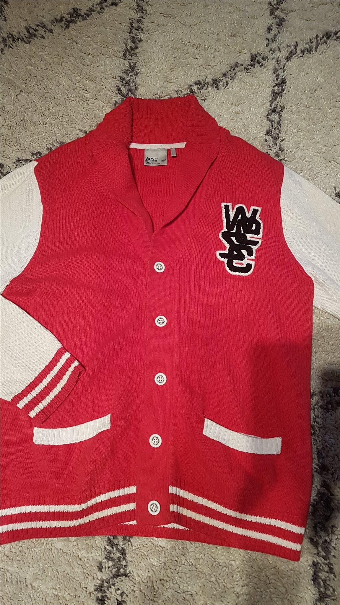 WESC Cardigan, stl. L, röd/vit