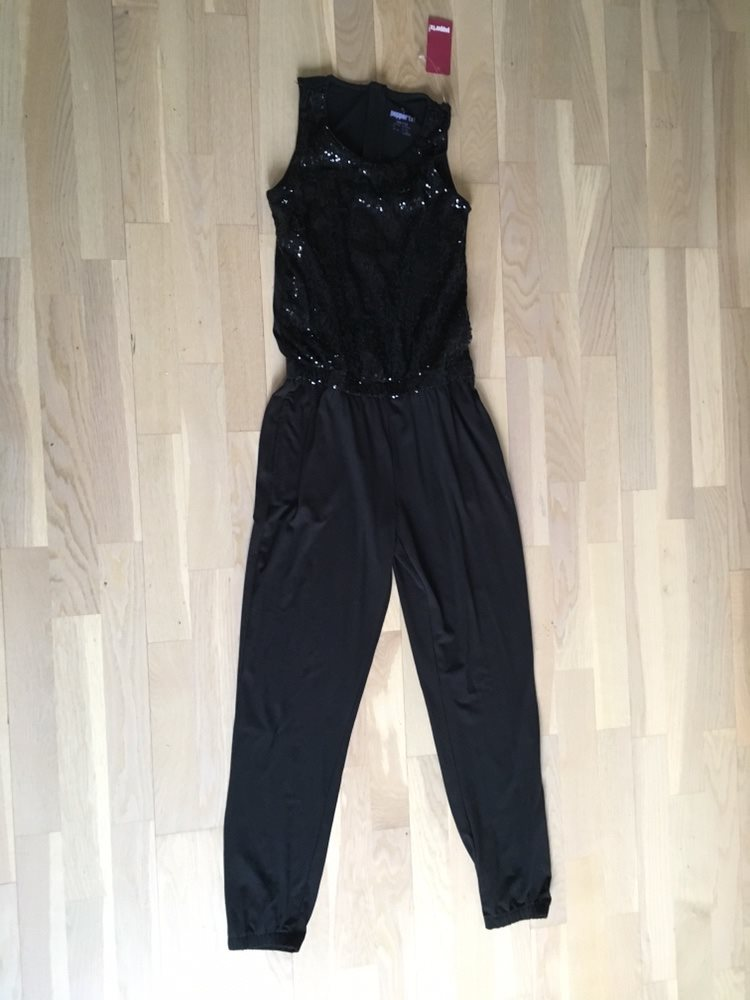 SPLITTER NY Svart byxdress jumpsuit med paljetter i strlk 146 152 (10-12 f4097bb52efb4