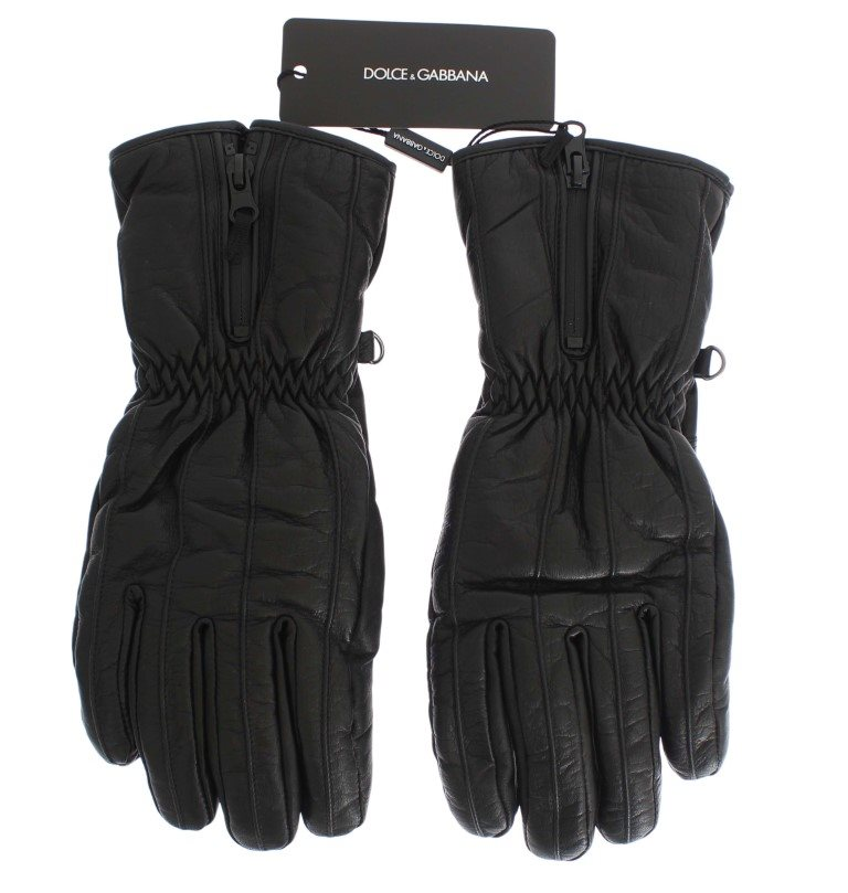 Dolce & Gabbana - Black Leather Padded Winter Gloves