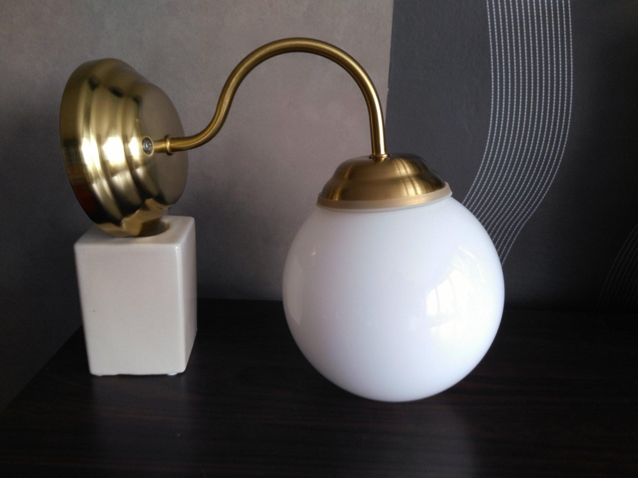 IKEA Lillholmen badrumslampa vägglampa klotlampa Glas Mässing. Utgått fr. IKEA