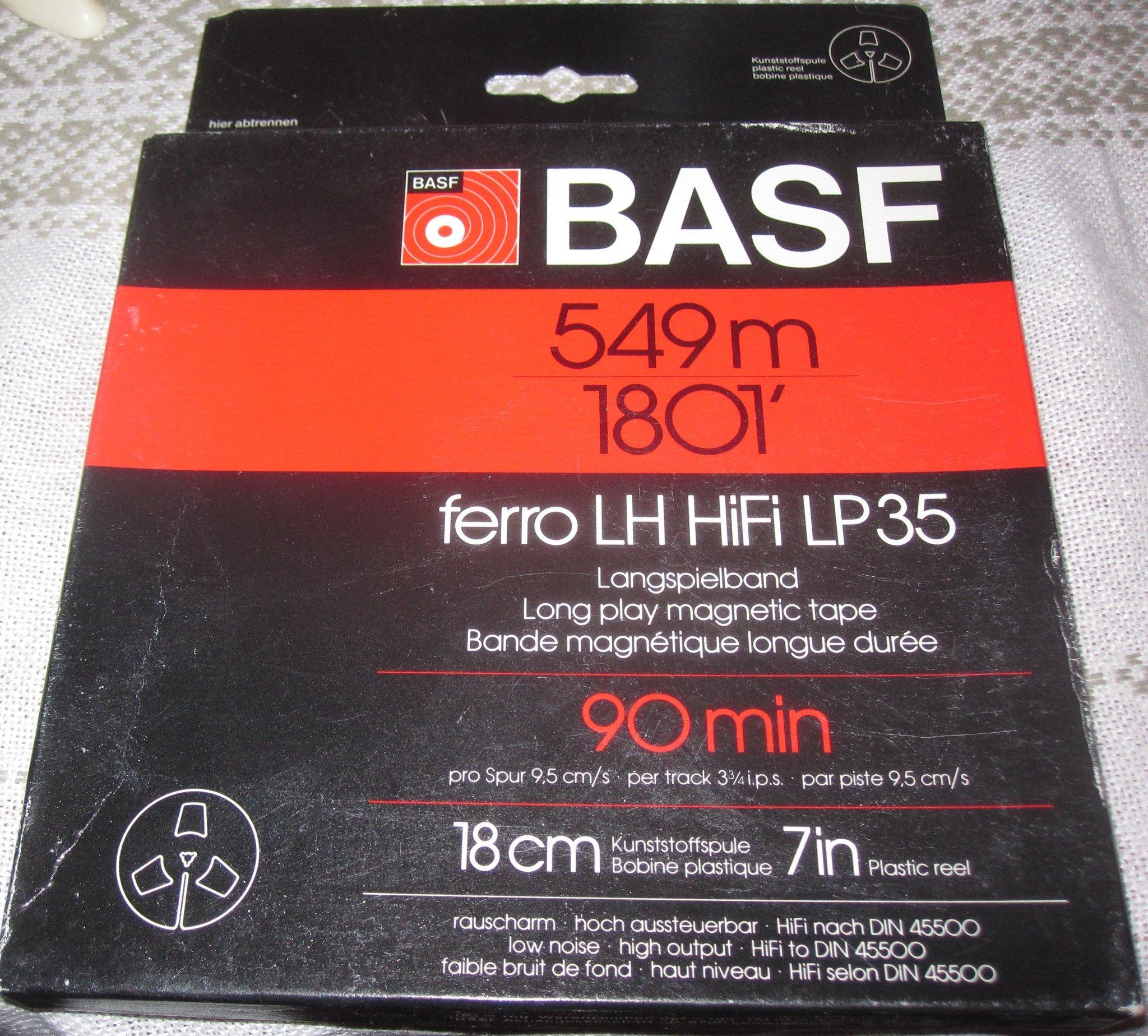 "NOS BASF ferro LH HiFi LP35 Reel-to-Reel Magnetic Tape 90min 549m//1801/' 18cm//7/"""
