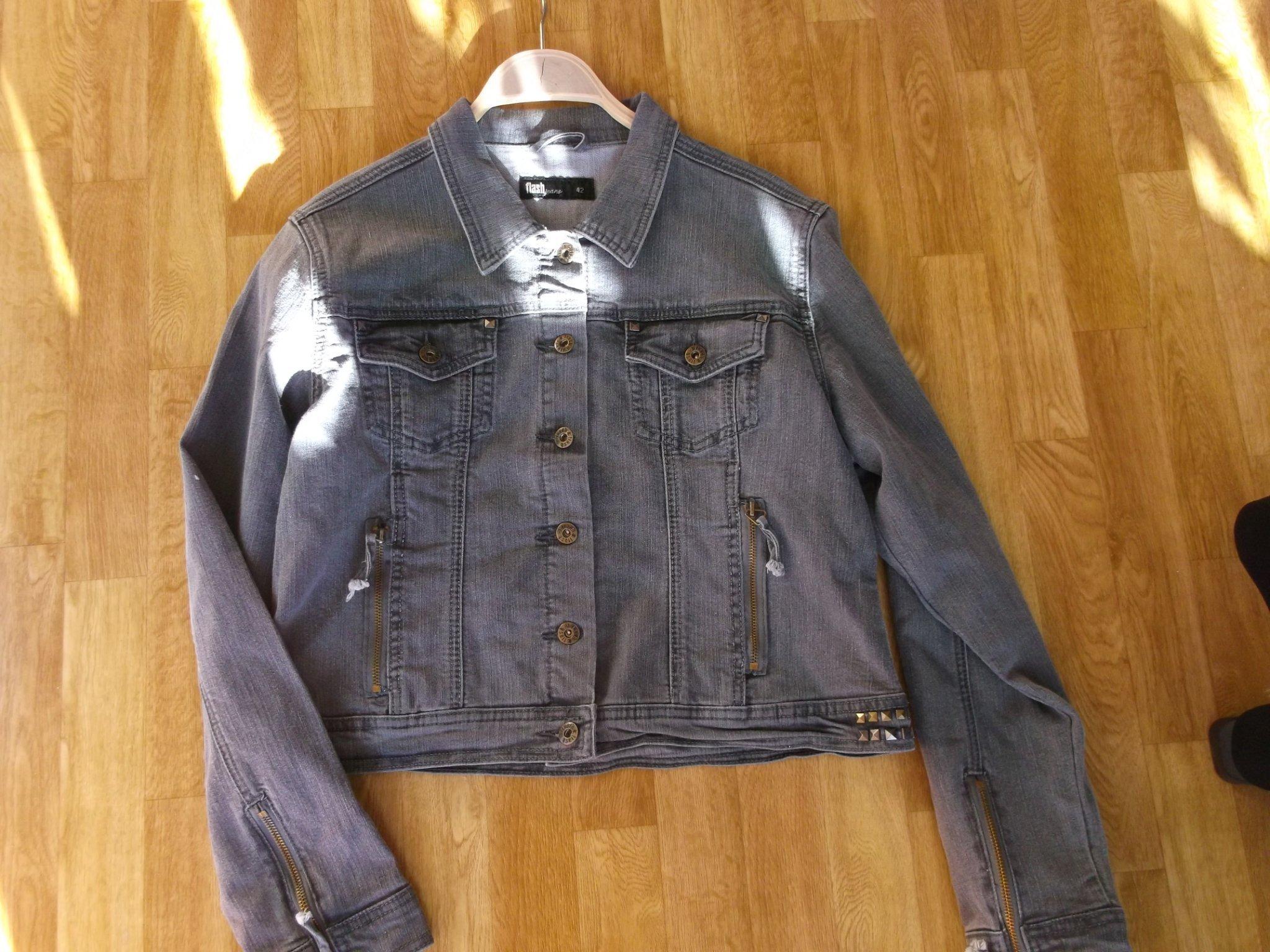 Cool jacka jeansjacka grå nitar 42 flash dragke.. (425195208