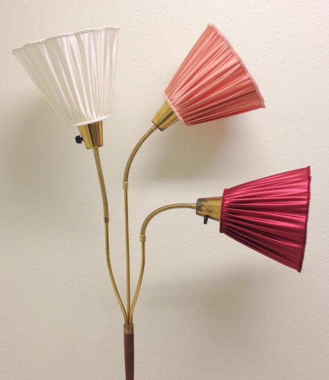 3 FINA LAMPSKäRMAR TILL DIN RETRO GOLVLAMPA VIT ROSA VINRÖD på