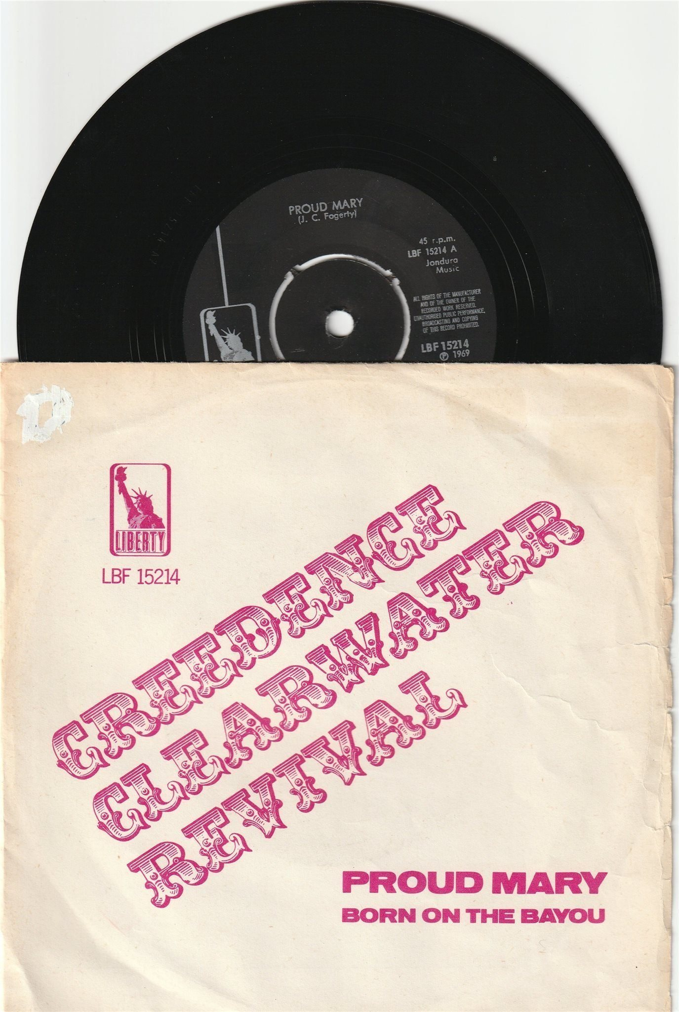 CREEDENCE CLEARWATER REVIVAL 7'' - Proud Mary SWE -69, PS