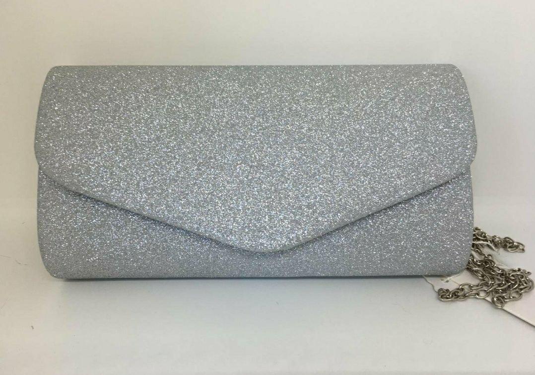Väska kuvertväska glitter silver