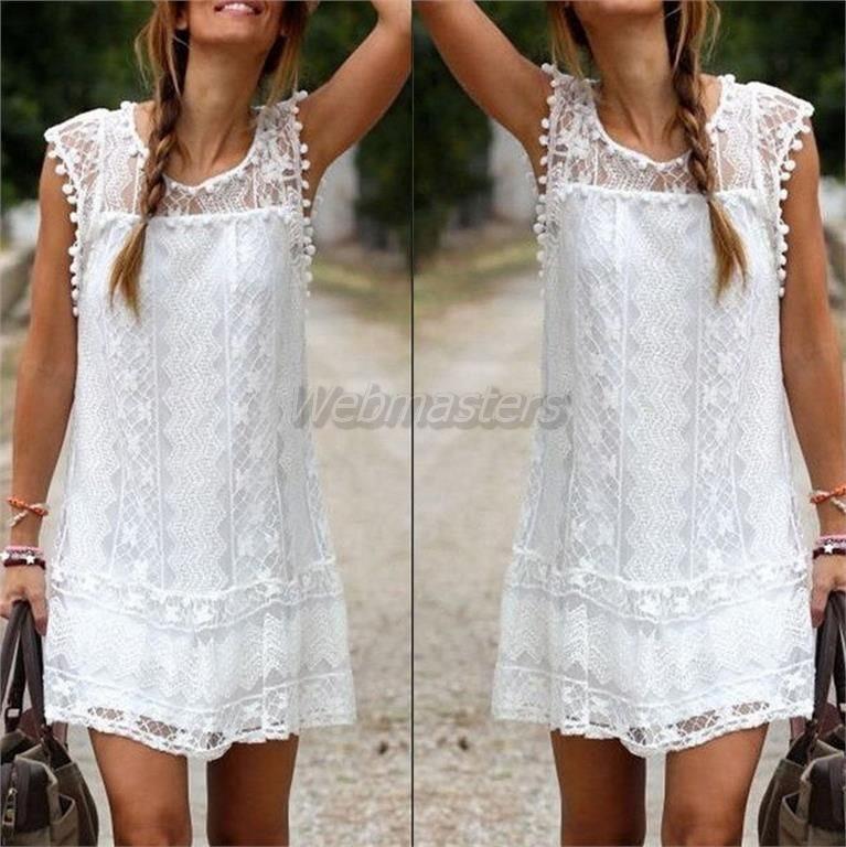 Härlig vit sommarklänning tunika linne klänning - XL