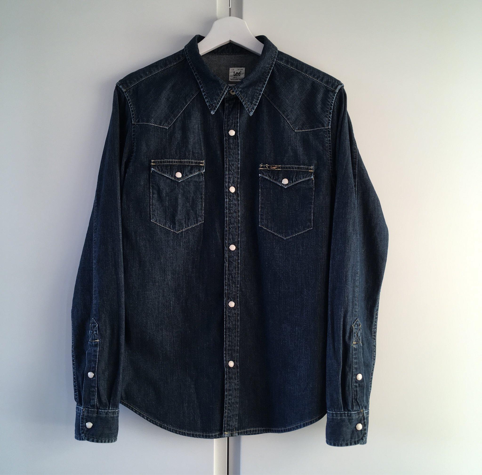 Lee jeansskjorta western skjorta jeans indigo blå, storlek S