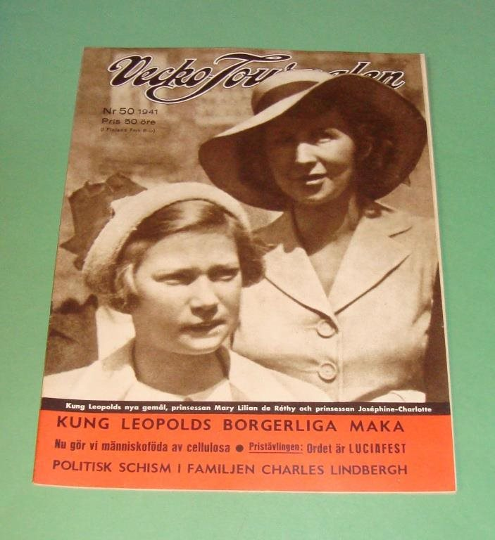 Vecko-Journalen nr 50 1941. Mary Lilian de Réthy på frams.
