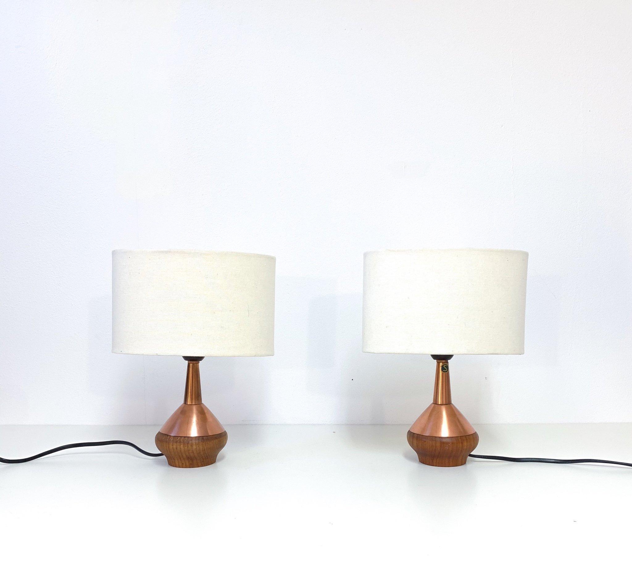 ASEA Belysning 2 st, bordslampor lampor teak & koppar ( retro lampa )
