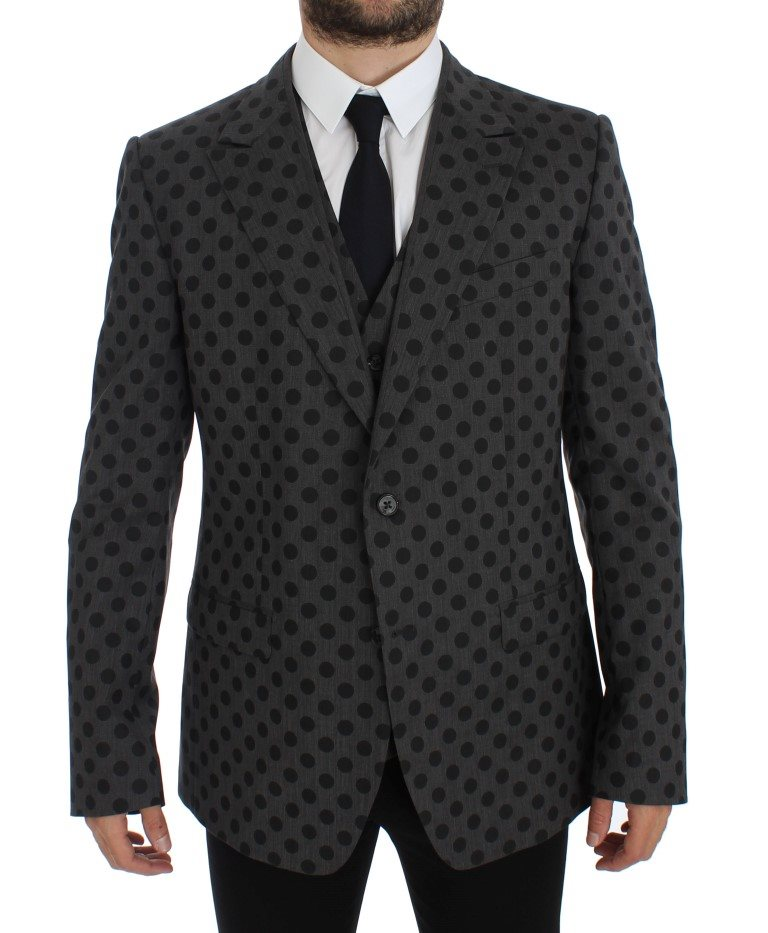 Dolce & Gabbana - Gray Polka Slim Fit Wool Stretch Blazer