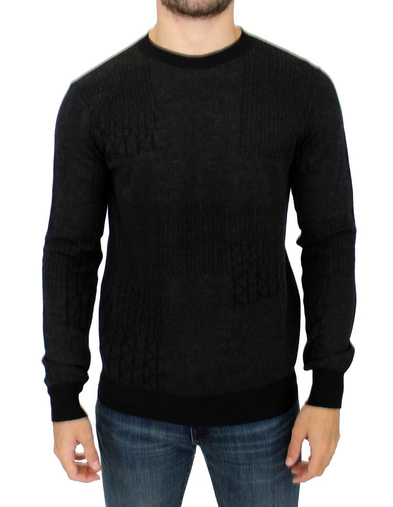 Karl Lagerfeld - Gray crew-neck pullover sweater