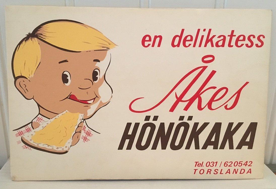 09c3be26dcd Retro skylt: Åkes Hönökaka (350642754) ᐈ Köp på Tradera