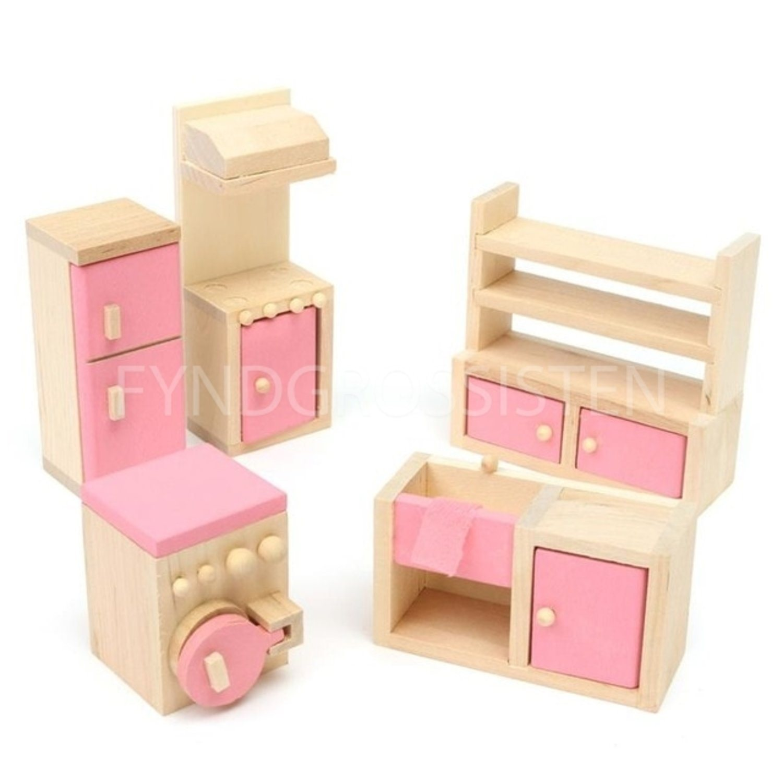 Wooden Pretend Toy Play House Furniture Kitchen 1:24 Fri Frakt Ny