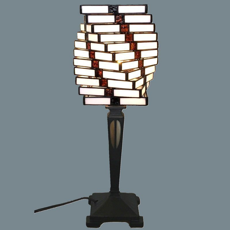 "Art Deco Stained Glass Table Lamp ""Helix"" handmade in Tiffany technique"