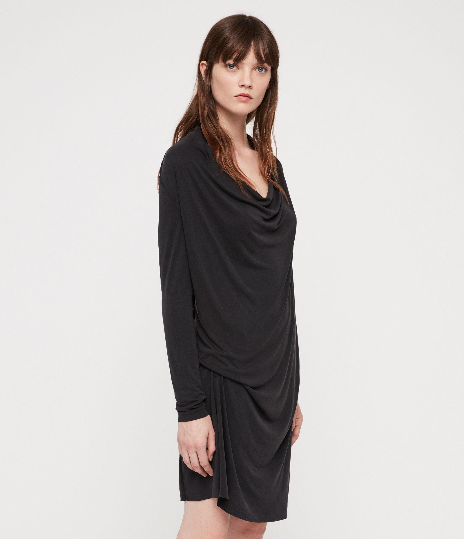 Svart draperad långärmad klänning från All Sain.. (405821340