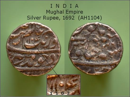 MYNT. INDIA. Mughal Empire. Silver Rupee, 1692