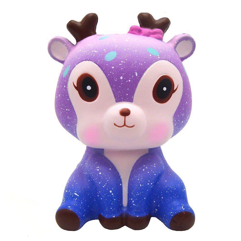 Kreativ 11cm hjortkräm doftande Squishy Långsam Rising Squeeze Strap Kids Toy