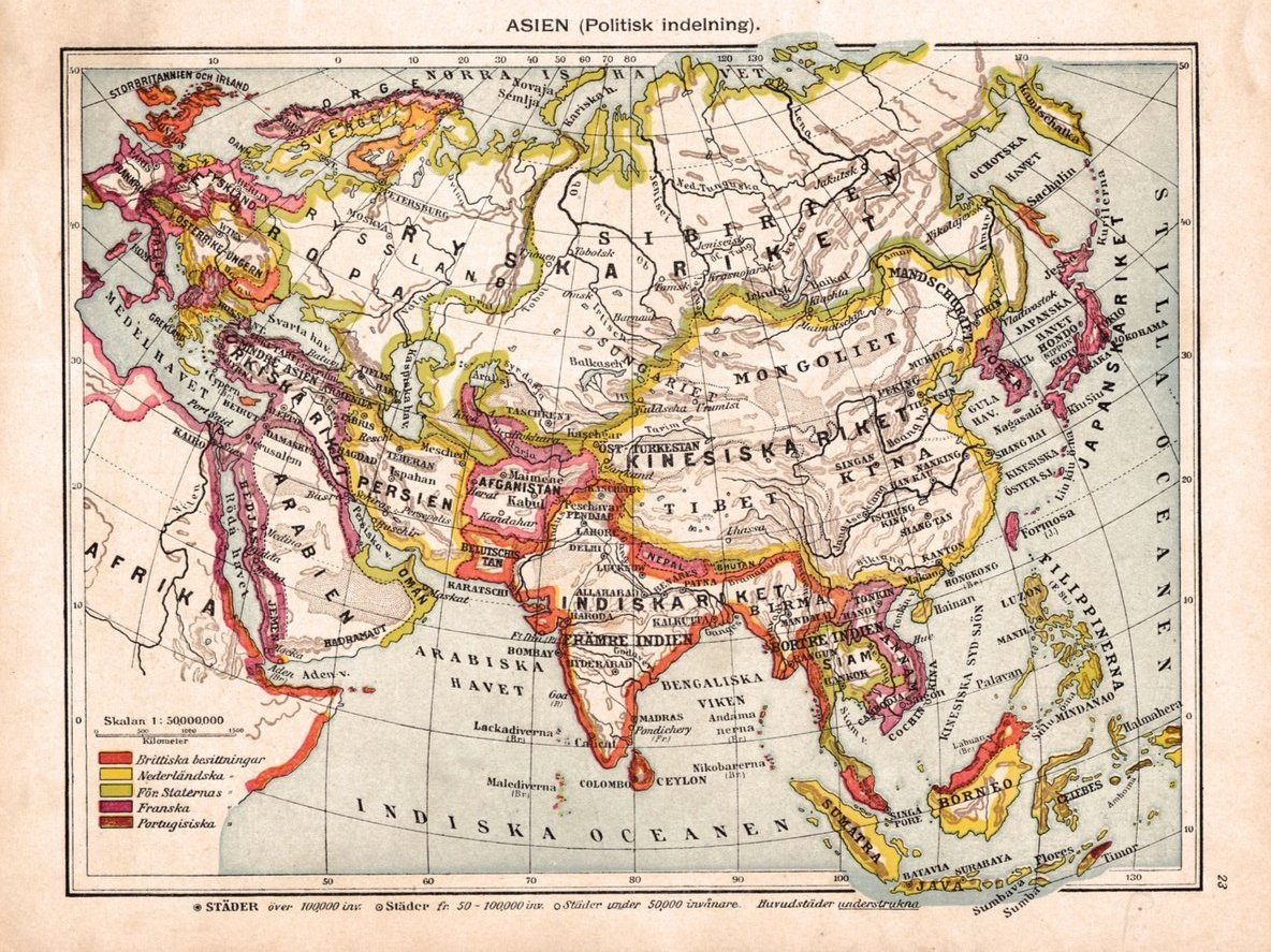 Karta Over Asien Fran 1920 376929293 ᐈ Kop Pa Tradera