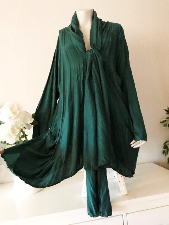 81c6cabe Grizas fri frakt siden kimono grön tunika blus cardigan tunik siden bambo M  +++ ...
