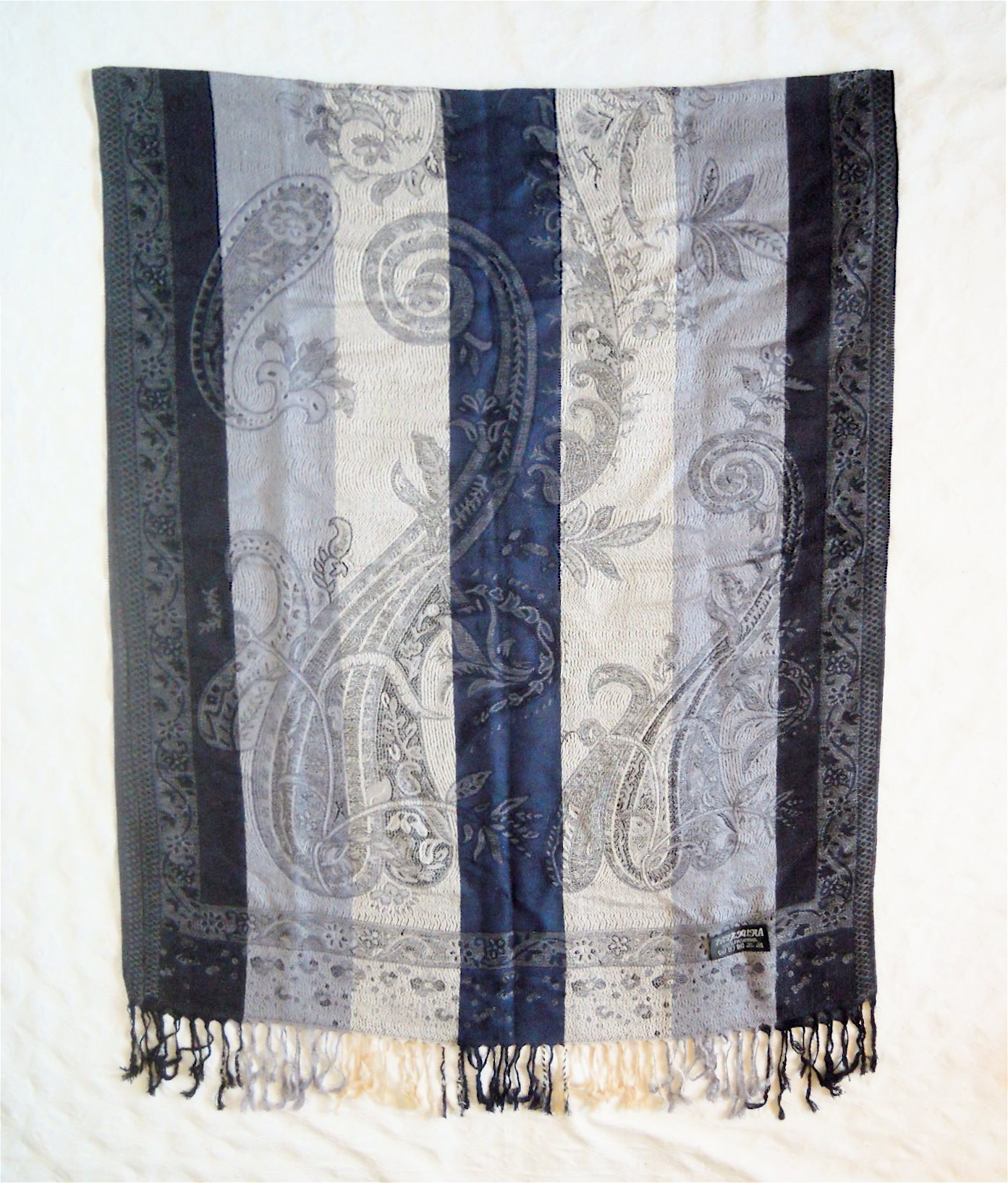Blå/mörkblå pashmina sjal 100% pashmina/cashmere