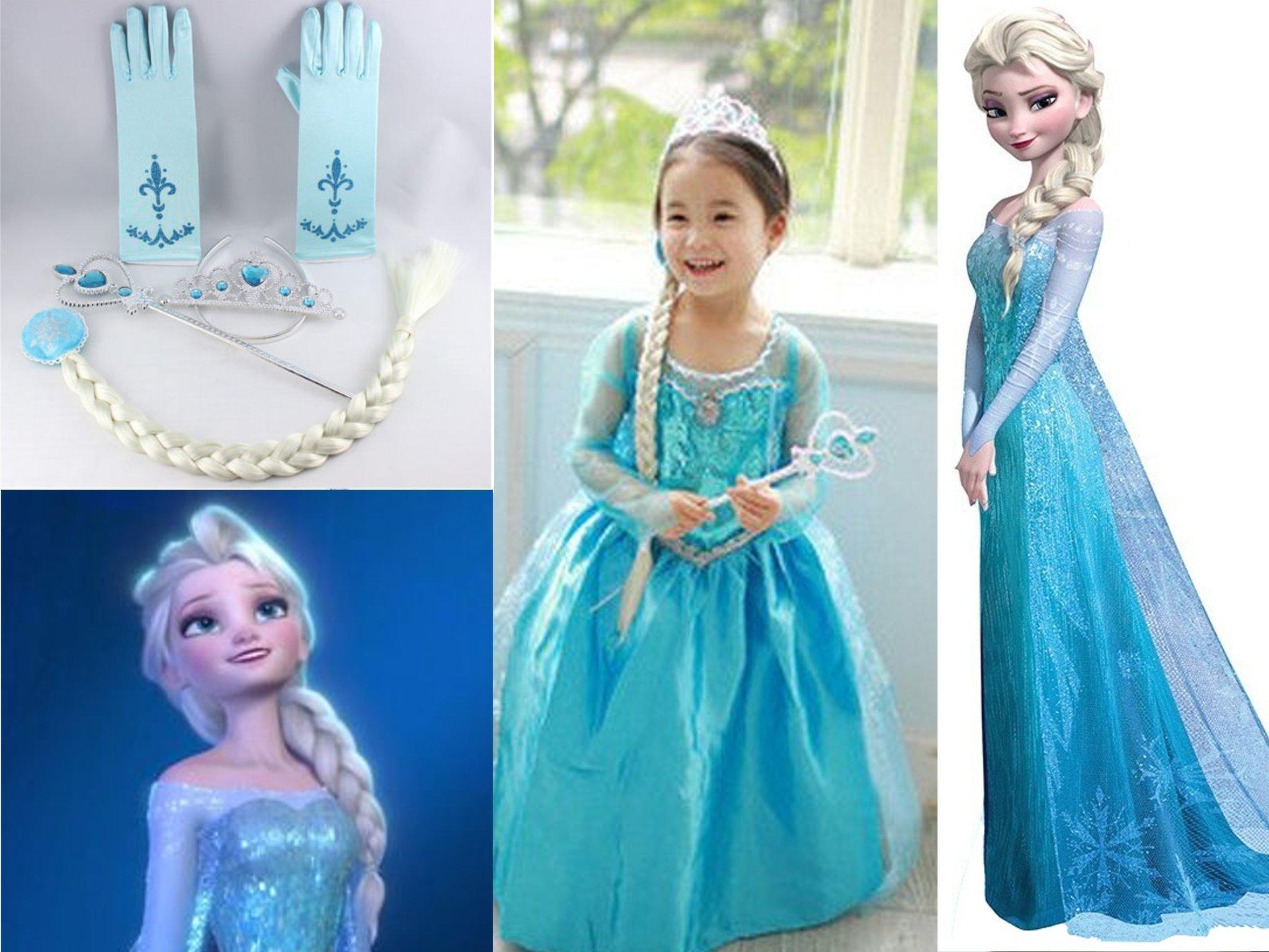 Frost Frozen Elsa klänning tiara handskar hårfläta trollstav ca 110 Svensk lev!