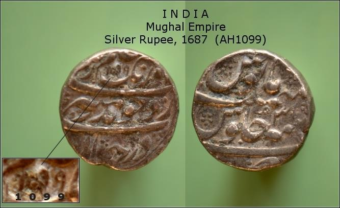 MYNT. INDIA. Mughal Empire. Silver Rupee, 1687
