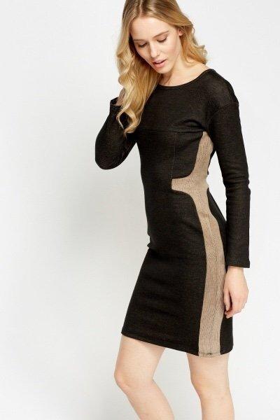 Stickad svart cream klänning,långärmad klänning.. (406453809