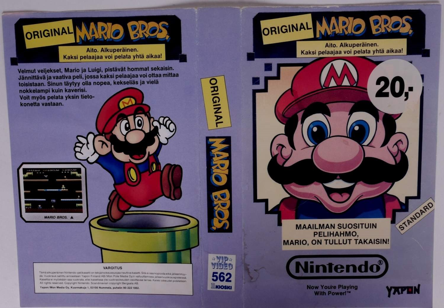 Mario Bros. (Original YAPON Rental Cover Paper) -