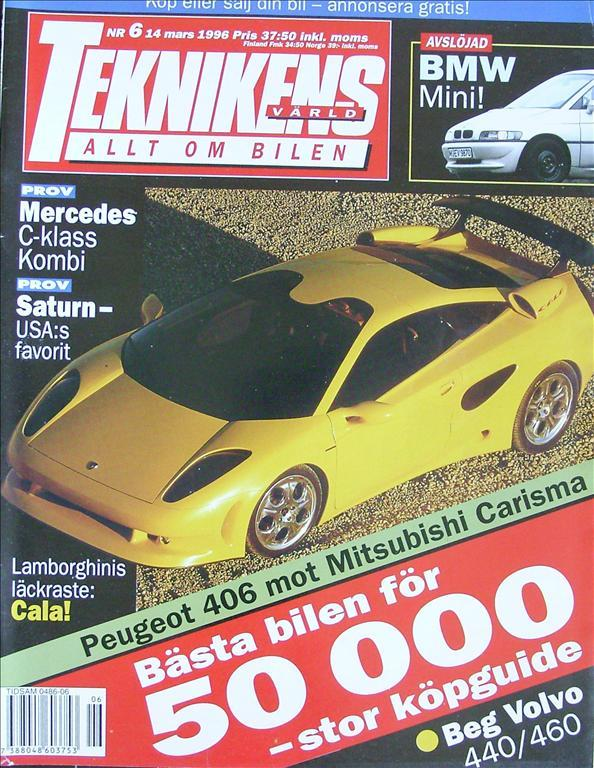 TEKNIKENS VÄRLD 1996/6.Lamborghini Cala.Saturn.Minari.Mercedes C-klass.BMW Mini