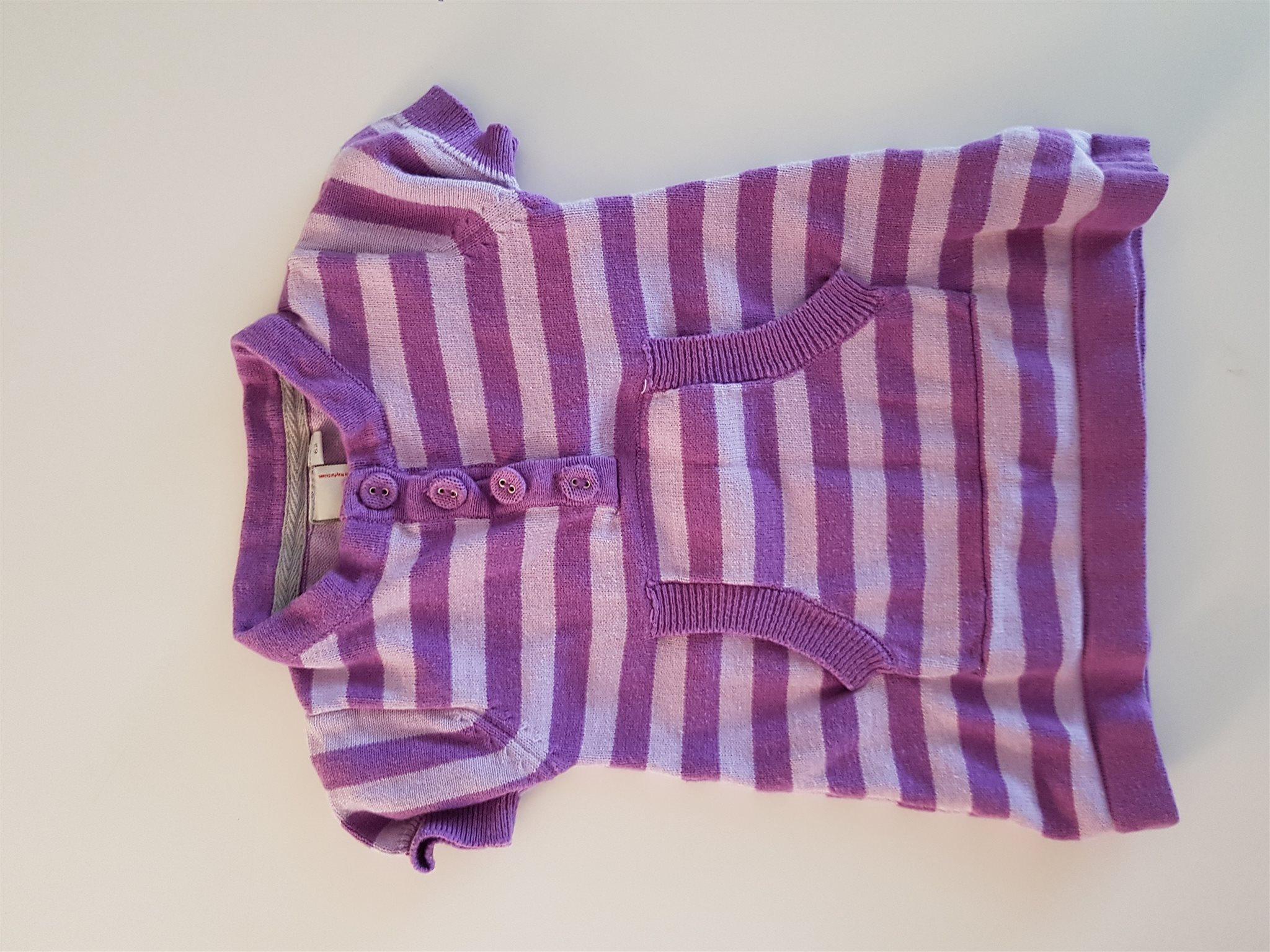 3c874cf975f6 Lila randig klänning i strl. 62 (332973457) ᐈ Köp på Tradera