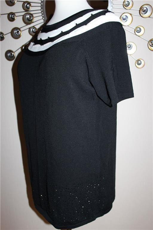 Ny svart-vit tunika/långblus, storlek 44