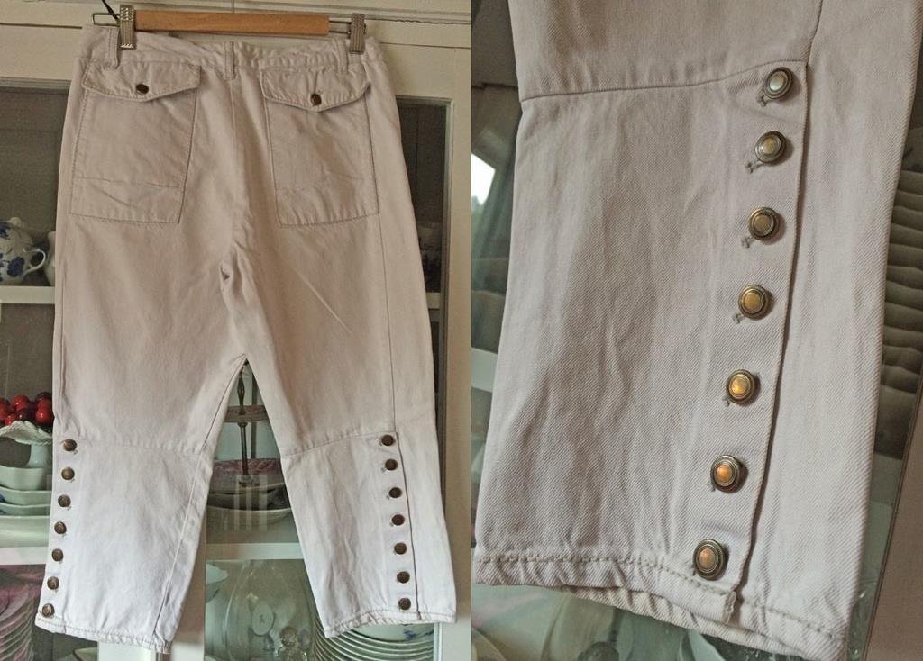 Noa Noa fri frakt vita jeans capri byxa byxor high water shorts jeansshorts  S 8fb5b333b9a5c