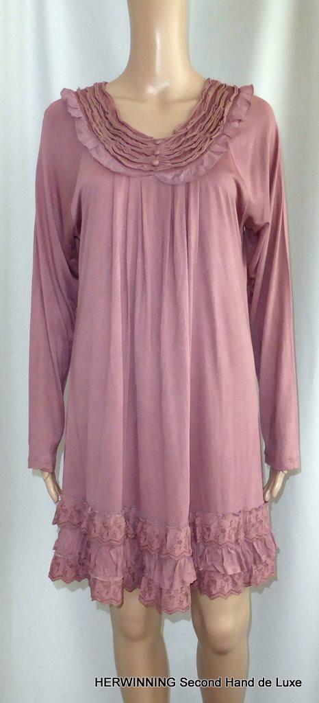 d633249da2c3 LOVE FOREVER 46/48 klänning brun rosa brodyr volang stretch. Ny med tag!
