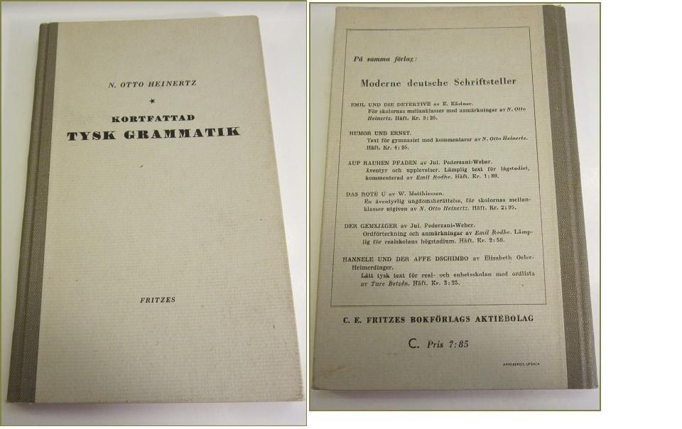 KORTFATTAD TYSK GRAMMATIK N OTTO HEINERTZ-FRITZ   (351971068