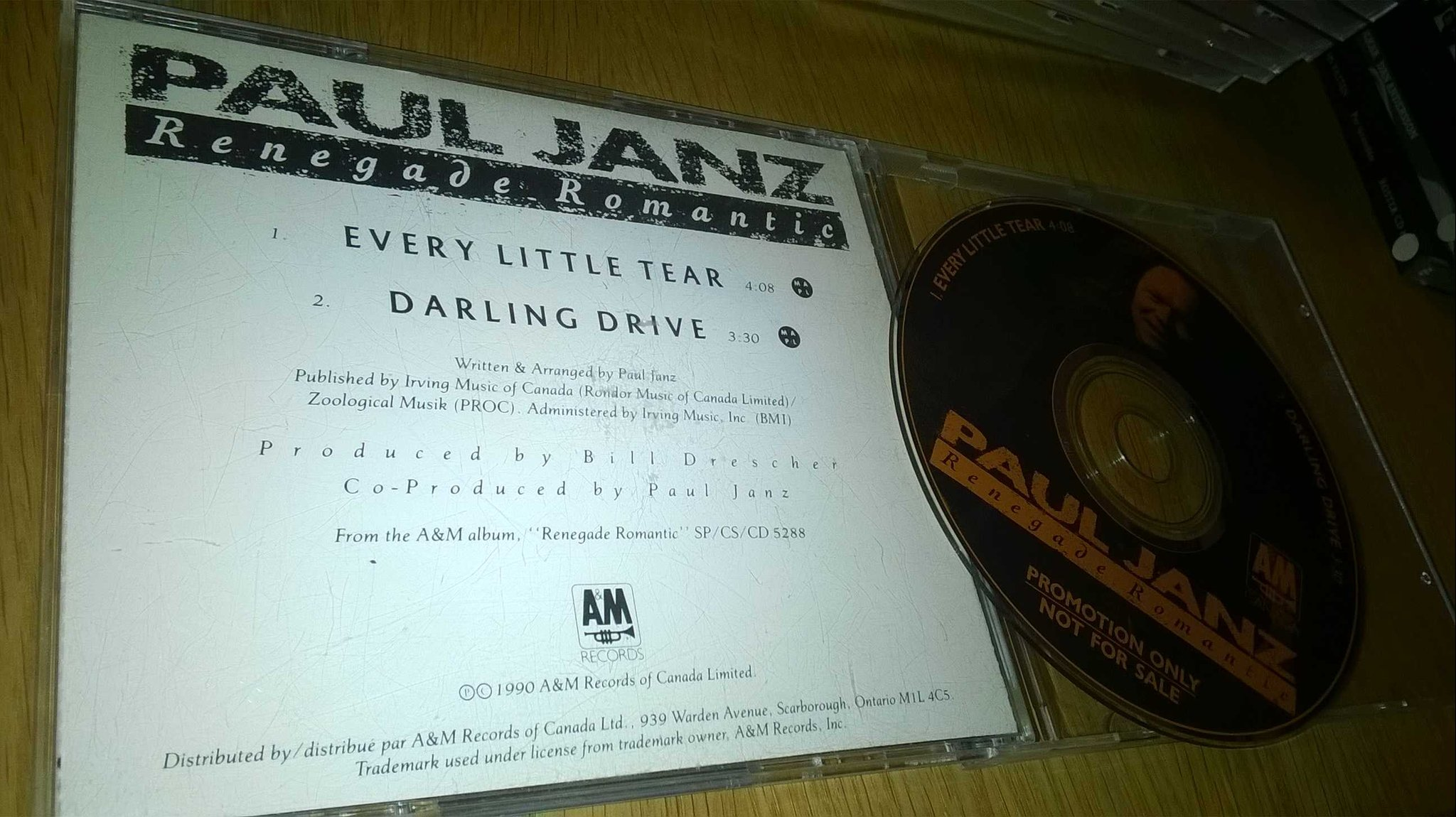 Paul Janz ?- Renegade Romantic, CD, single, promo, rare!