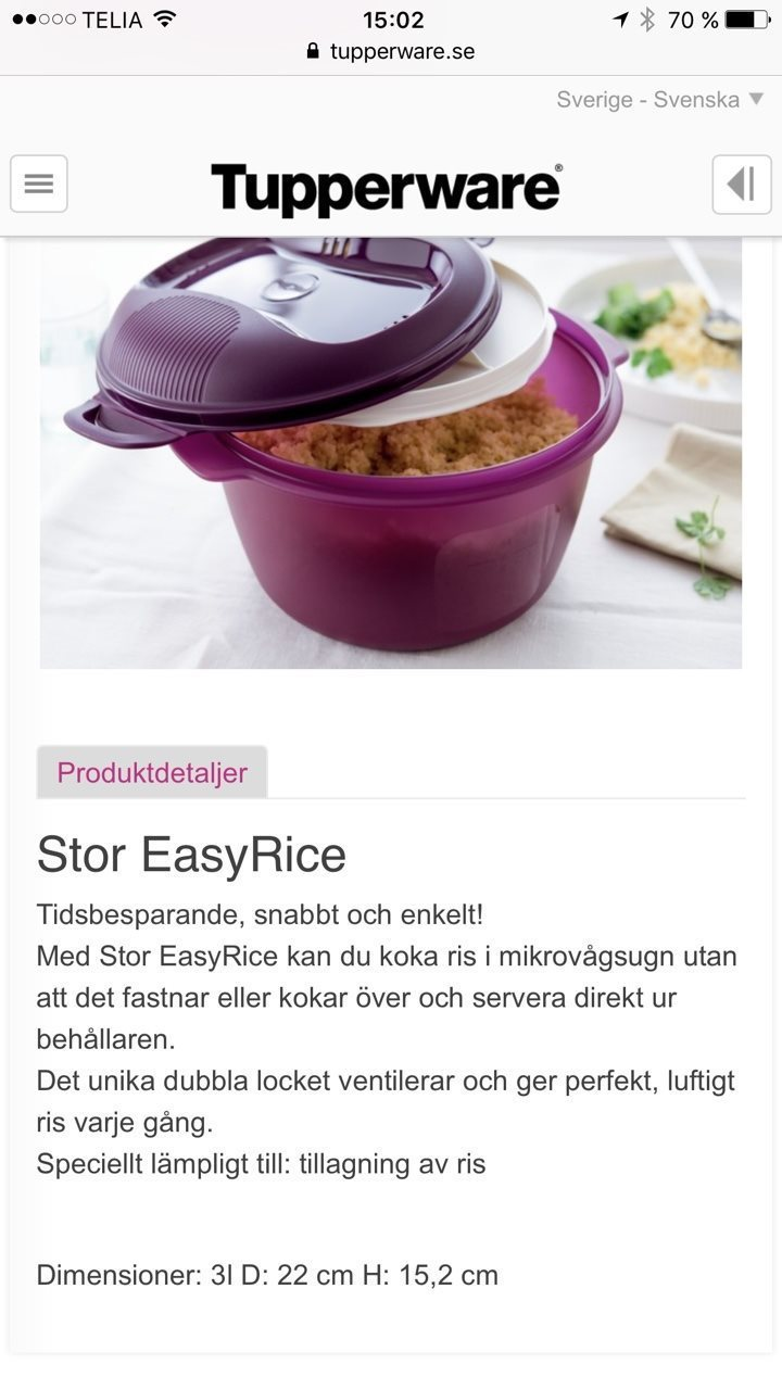 Tupperware easyrice bruksanvisning