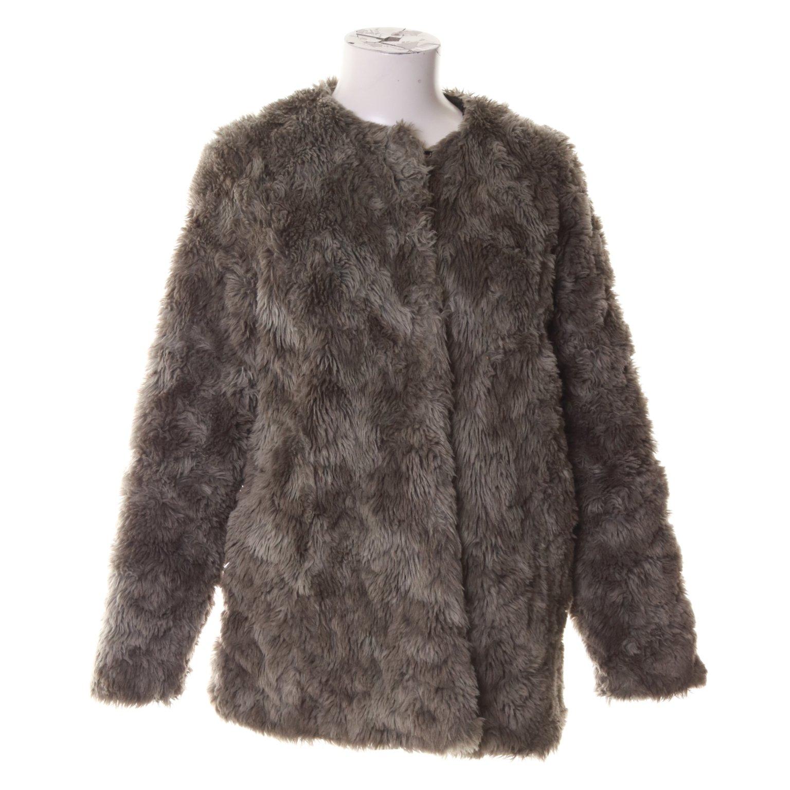 H&M, Jacka, Strl: 38, Faux Fur Päls Teddy, Grå