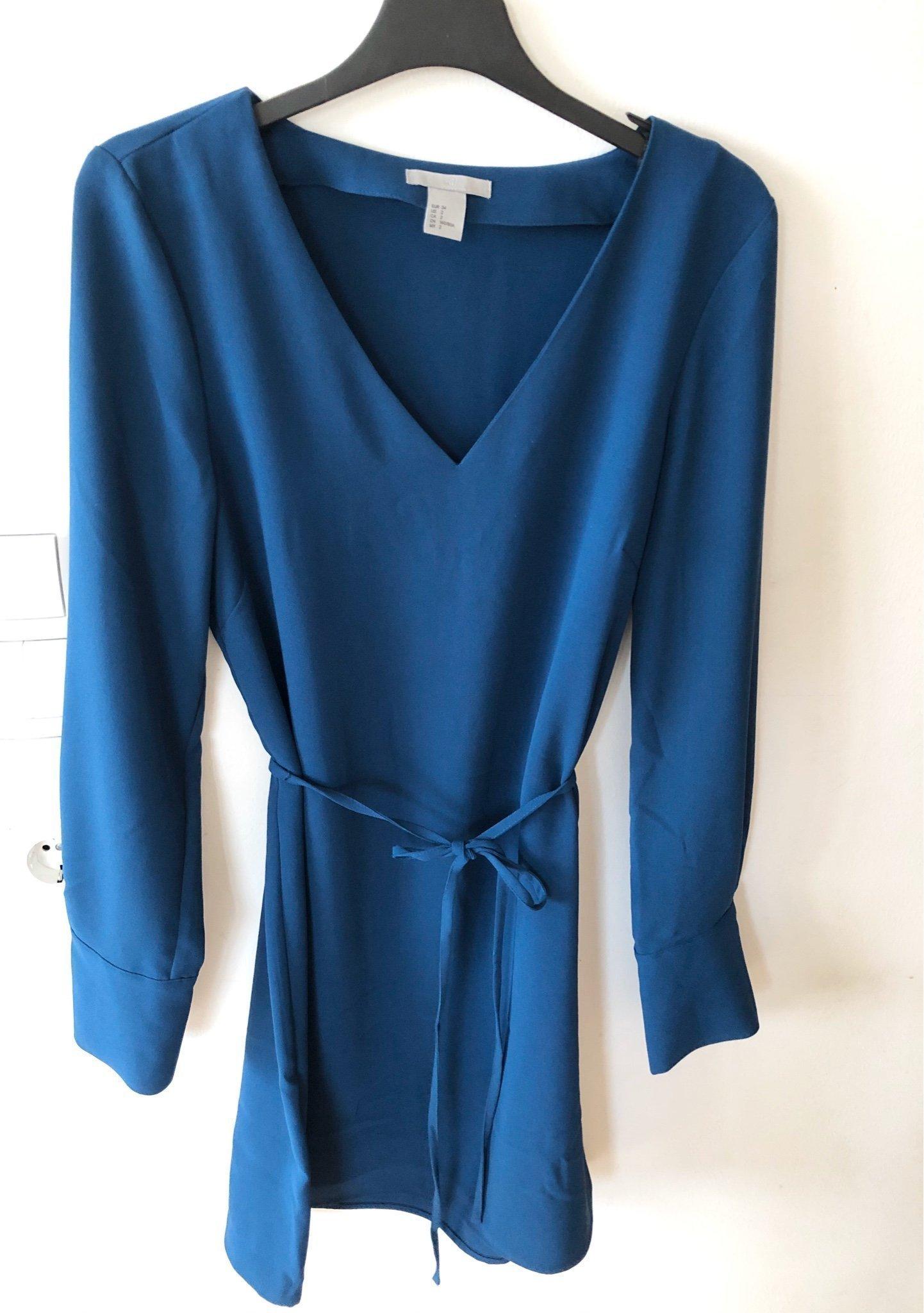 NY H&M klänning strl 34 V ringad Blå Damklännin.. (397336713