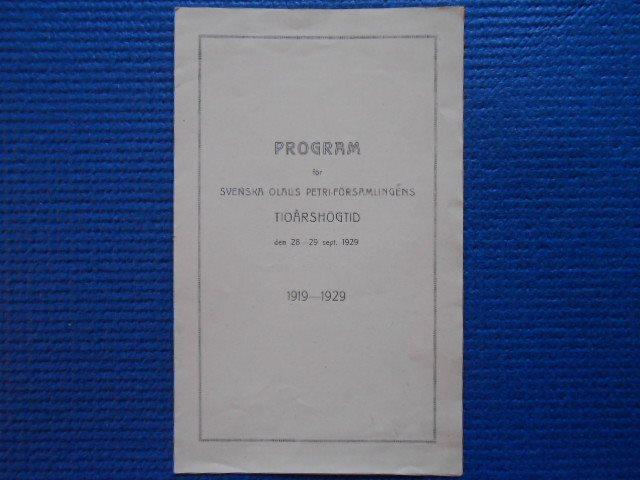 Program för Svenska Olaus Petri församlingens tioårshögtid 28-29 sept 1929