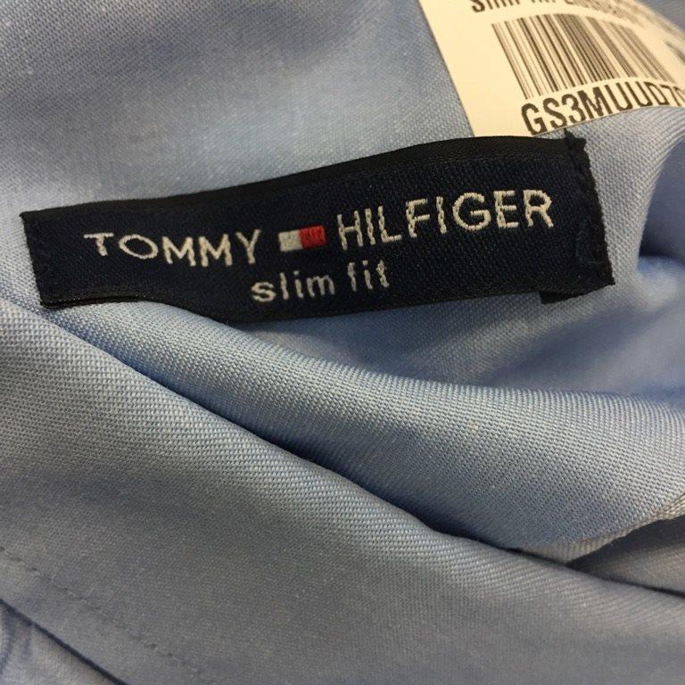Tommy Tommy Tommy Hilfiger, Skjorta, Strl: XXL, Slim fit, Ljusblå/Vit c1608e