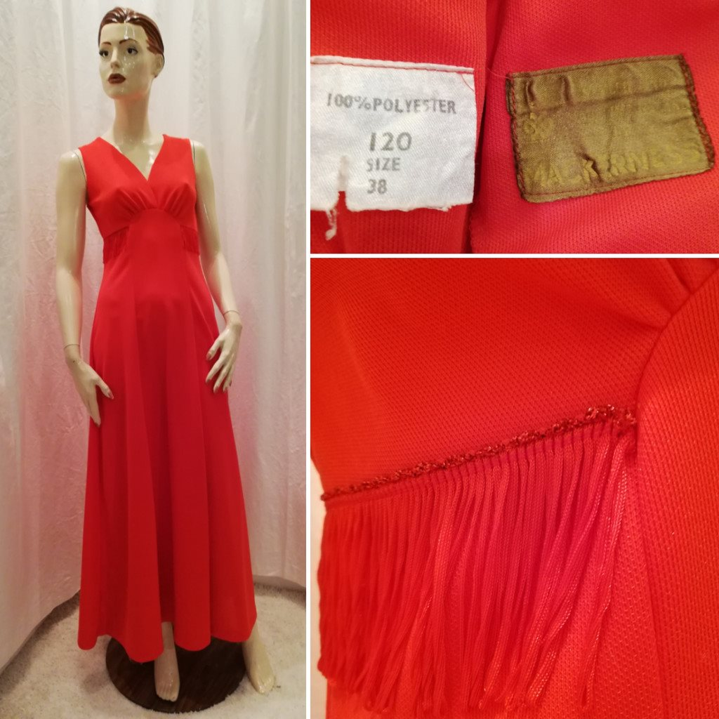 4c2a1121b715 Vintage retro röd långklänning med.. (338086170) ᐈ vintagecorner på ...