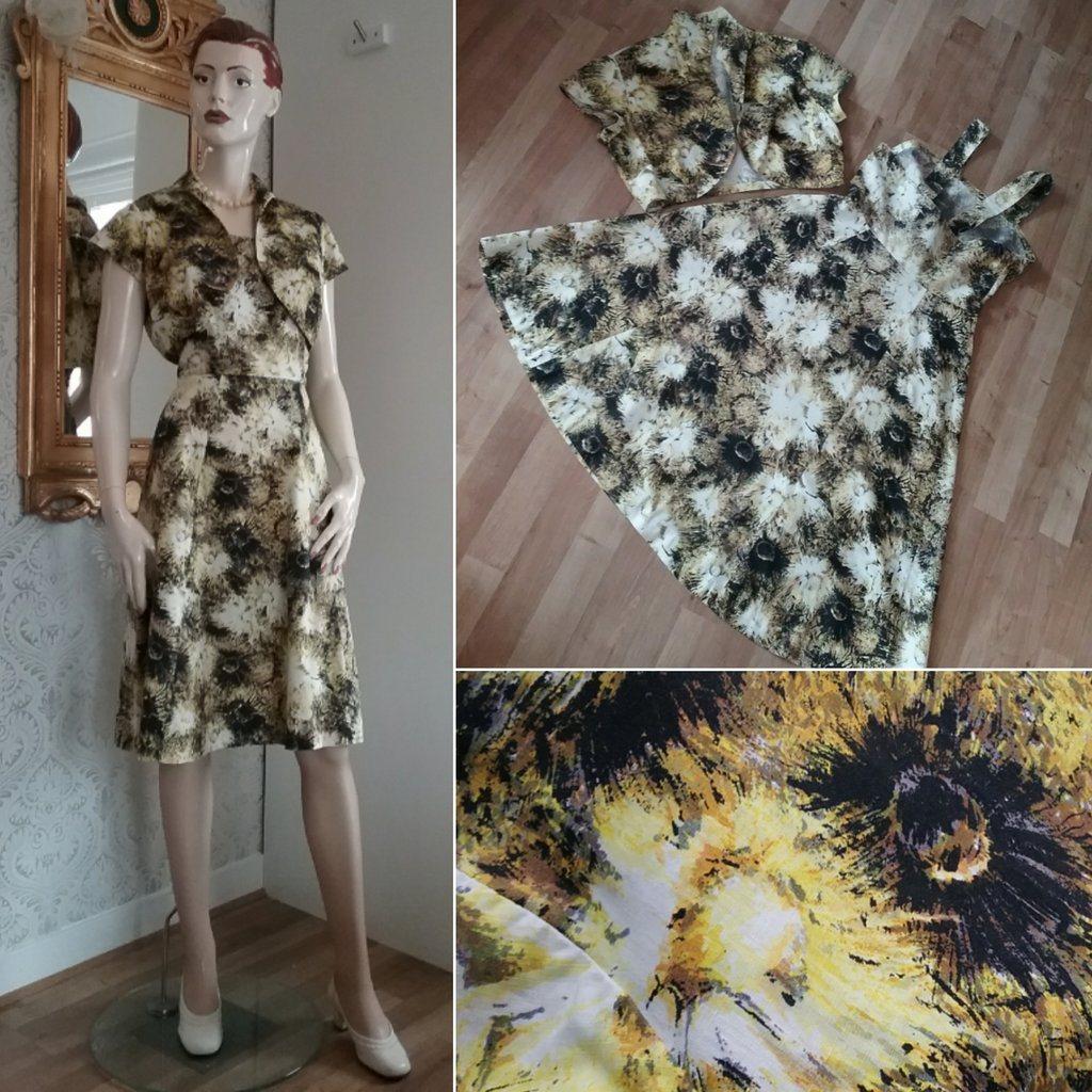 463f6183be89 Vintage retro sommarklänning med bolero svart-gul-blommig bomull 50-tal 60-
