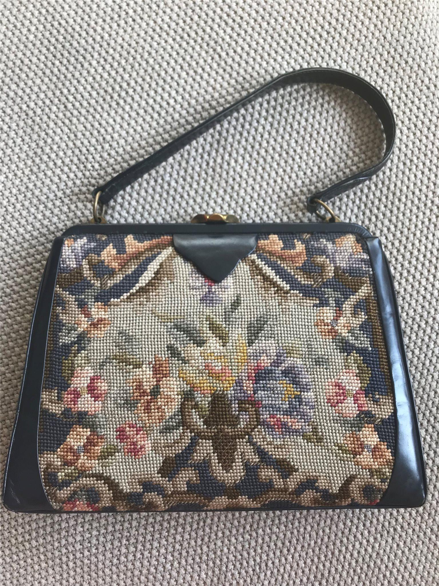 Gobeläng, läder vintage väska