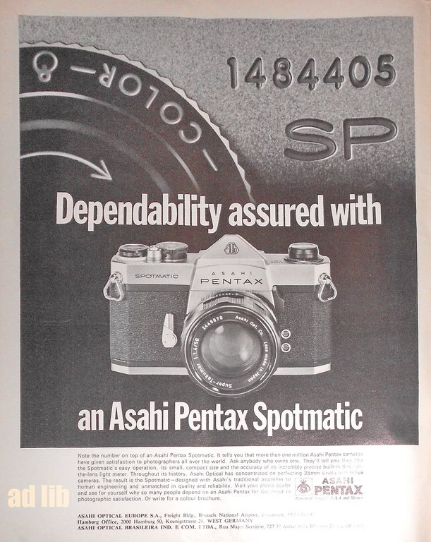 ASAHI PENTAX SPOTMATIC - DEPENDABILITY ASSURED WITH TIDNINGSANNONS Retro 1968